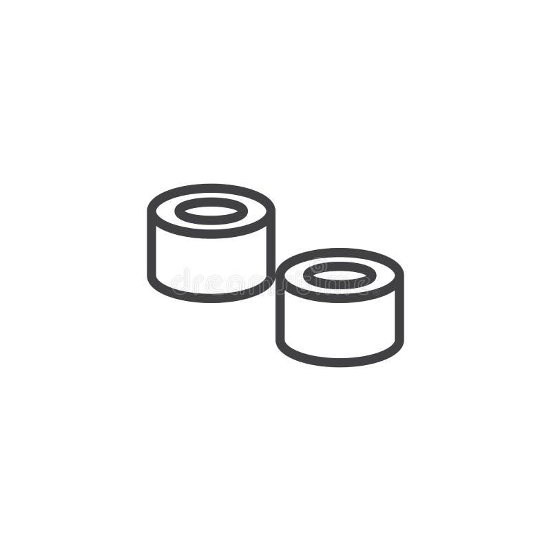 Suszi rolek konturu ikona royalty ilustracja