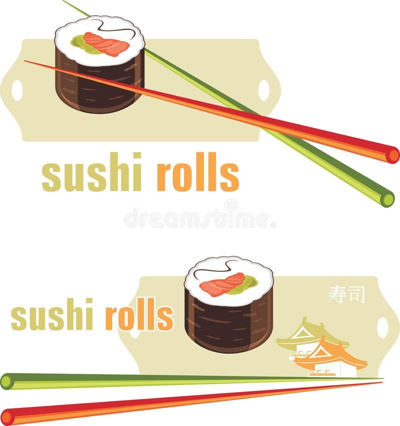Suszi rolki i chopsticks. Ikony dla menu projekta royalty ilustracja
