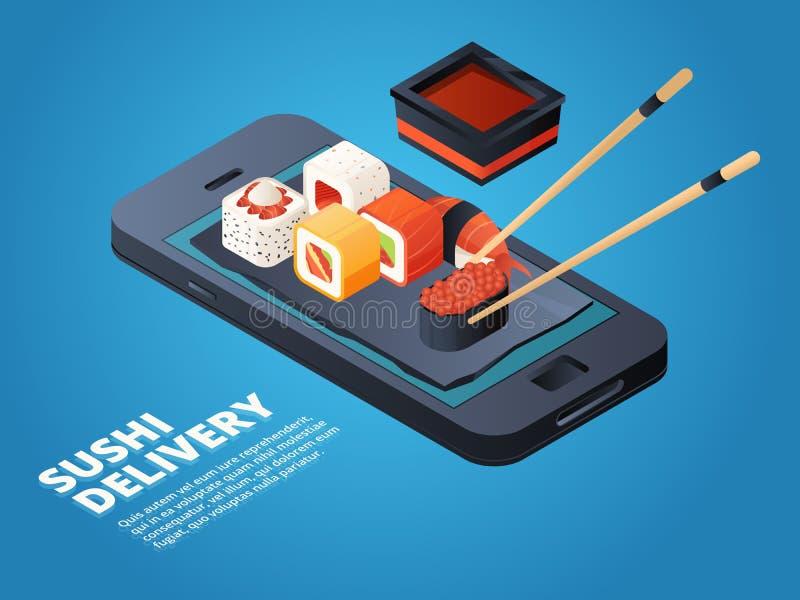 Suszi rozkaz Online lub telefonicznego rozkazu różnorodny azjatykci jedzenie ilustracja wektor