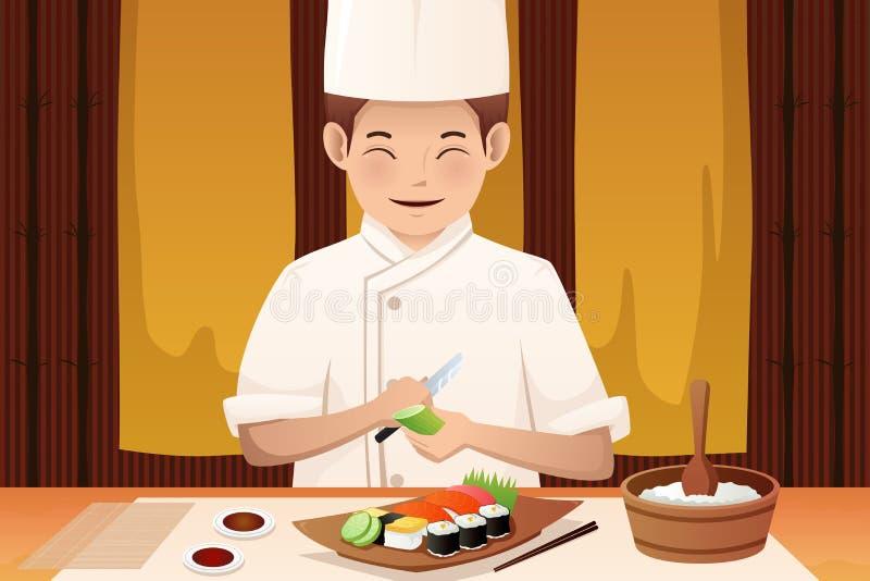 Suszi szef kuchni pracuje w restauraci royalty ilustracja