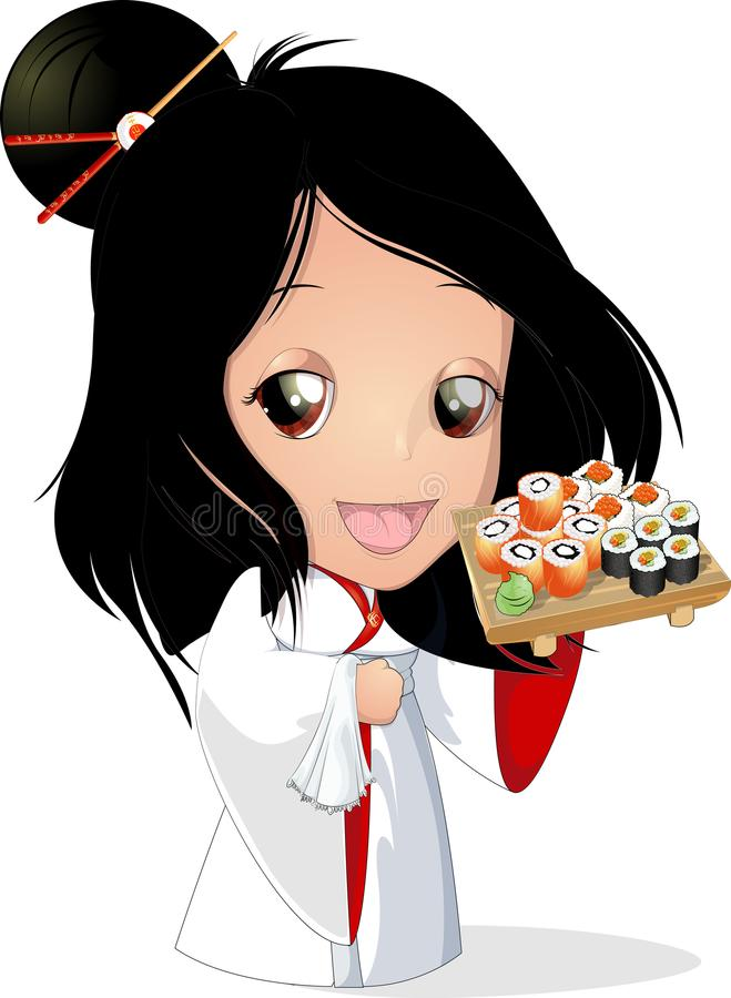 Suszi szef kuchni przy restauracją ilustracja wektor