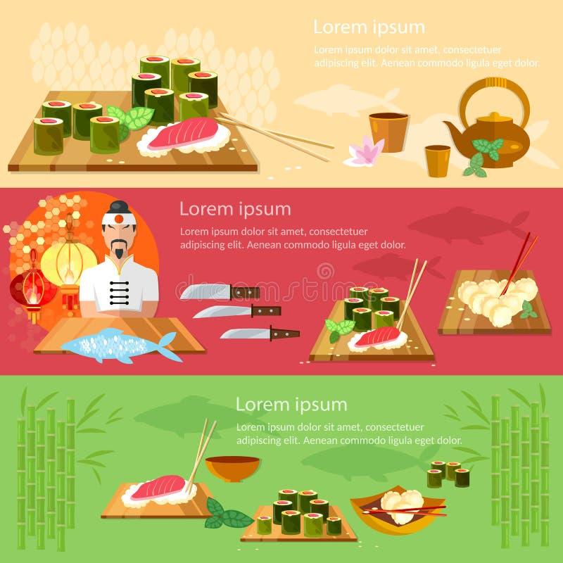 Suszi sztandarów kuchni restauracyjny azjatykci szef kuchni royalty ilustracja