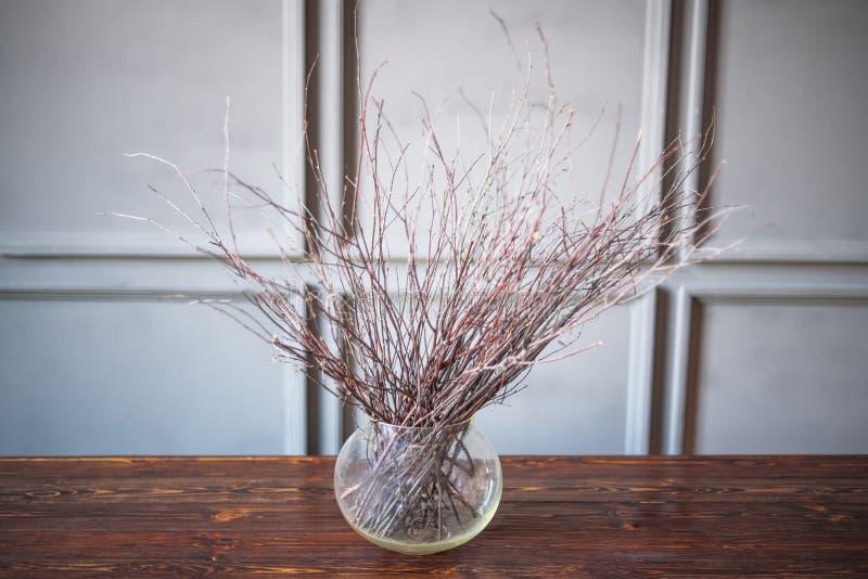 Suszy gałąź w przejrzystej wazie na drewnianym stole, szary tło obraz royalty free