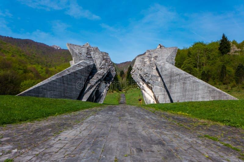 Sutjeska WW2纪念碑 图库摄影