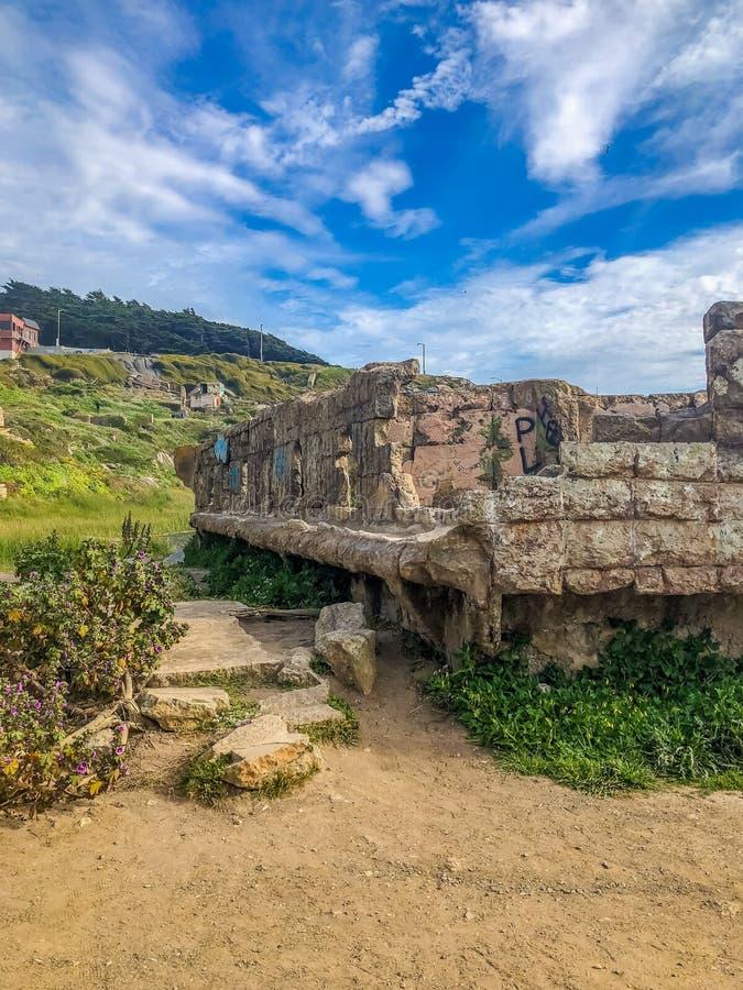 Sutro-Bad-alte Überreste in Kalifornien lizenzfreie stockfotos