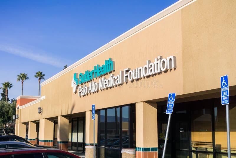 Sutter Health Palo Alto Medical Foundation entrance stock photography