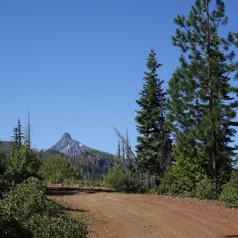Suttle Lake Loop and Mt. Washington. Mt. Washington in Central Oregon`s Cascade Mountain Range seen from the dirt Suttle Lake Loop Forest Service Road with royalty free stock photography
