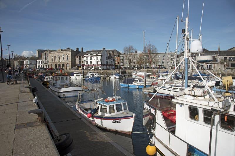 Sutton Harbour bij de Barbacanestad van Plymouth Devon het UK royalty-vrije stock foto