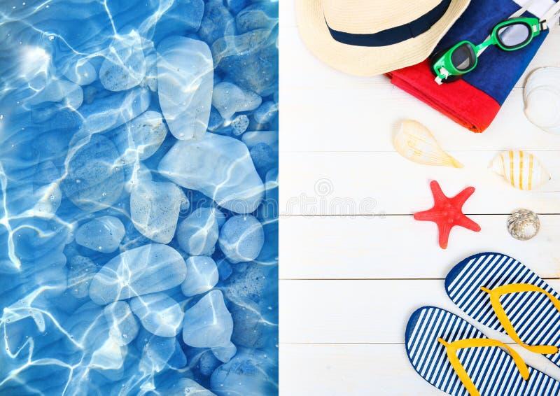 Suumer对象,职业 水池甲板,手段项目 触发器在木背景的帽子毛巾 向量例证