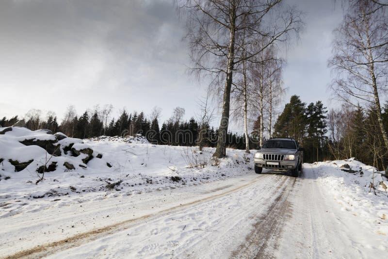 Suv,汽车,驱动通过多雪的横向 库存照片