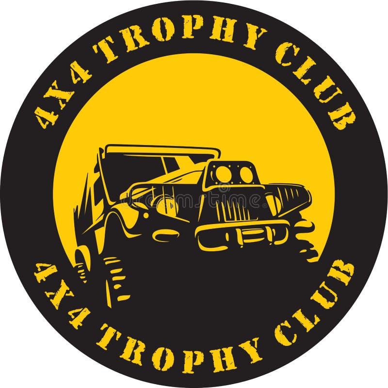 Suv 4x4 trofeum klubu znak royalty ilustracja