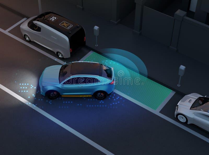 SUV autónomo es estacionamiento paralelo en estacionamiento en el borde de la carretera ilustración del vector