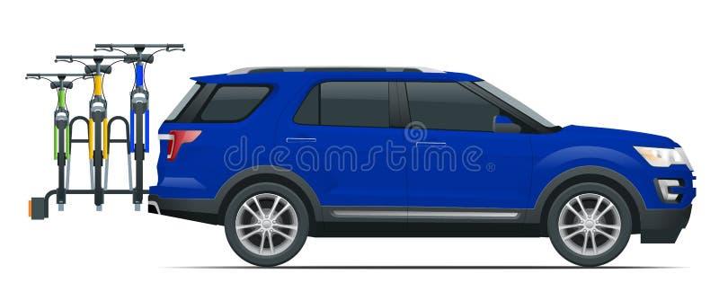 Suv-Auto transportiert die Fahrräder, die auf der Rückseite eines Vans geladen werden Weicher Fokus Flache Art-Illustration lokal lizenzfreie abbildung