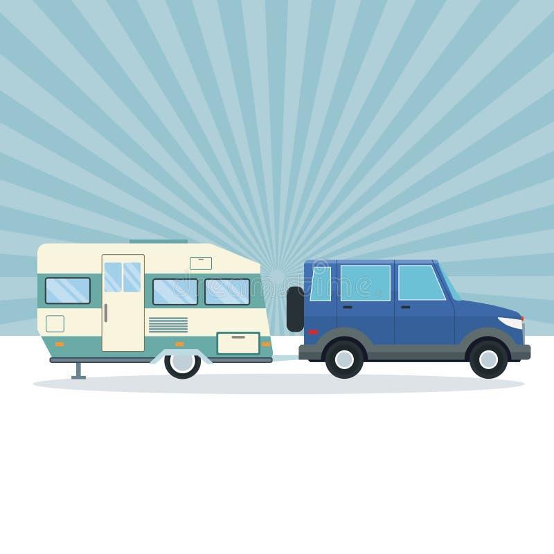 Suv avec la remorque de caravane illustration libre de droits