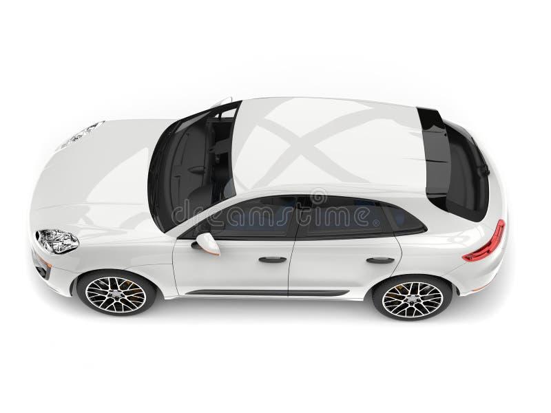 SUV branco moderno impressionante - cubra abaixo da vista ilustração do vetor