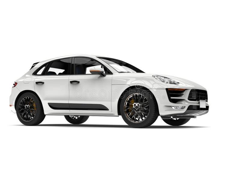 SUV branco moderno impressionante - tiro da beleza ilustração do vetor