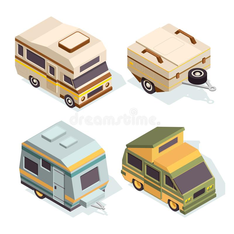 SUV and camping cars. Isometric pictures set of travel cars royalty free illustration