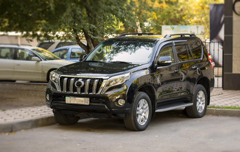 Suv car. Black SUV car is parked in the city of Almaty royalty free stock image