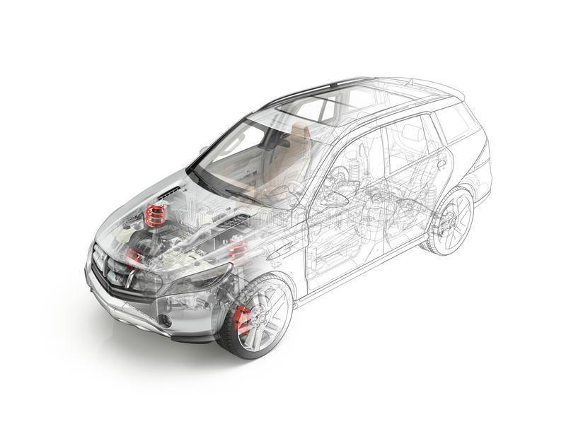 Suv car detailed cutaway realistic morphing to drawing. royalty free illustration