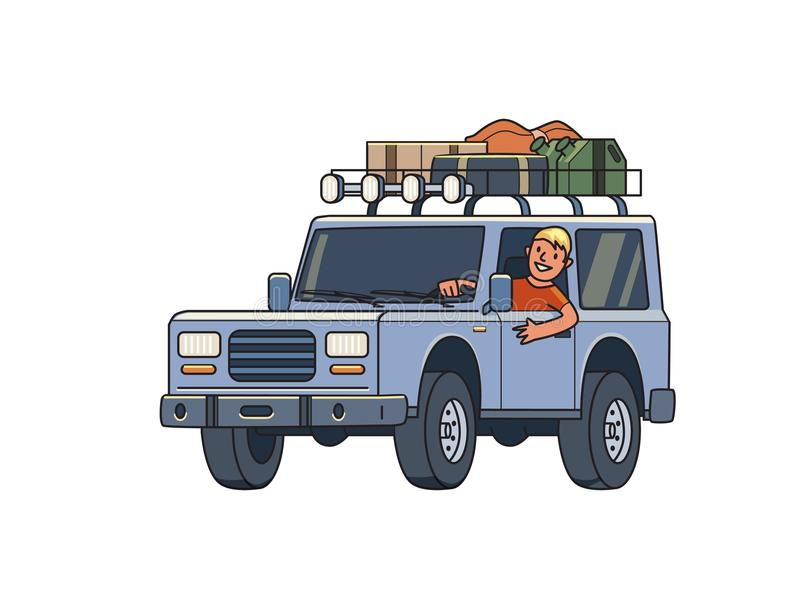 SUV car with luggage on the roof trunk and smiling guy behind the wheel. Off-road vehicle on the move. Traveler`s car stock illustration