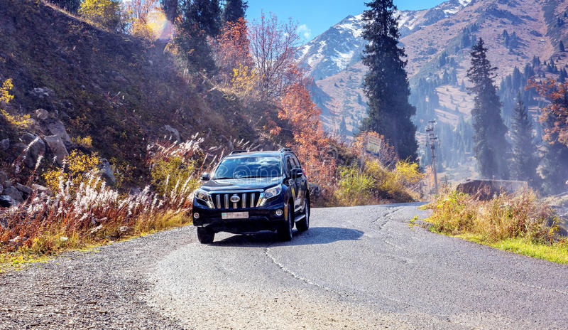 Suv car mountains royalty free stock photo