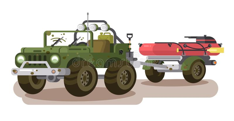 SUV car with trailer boat vector illustration