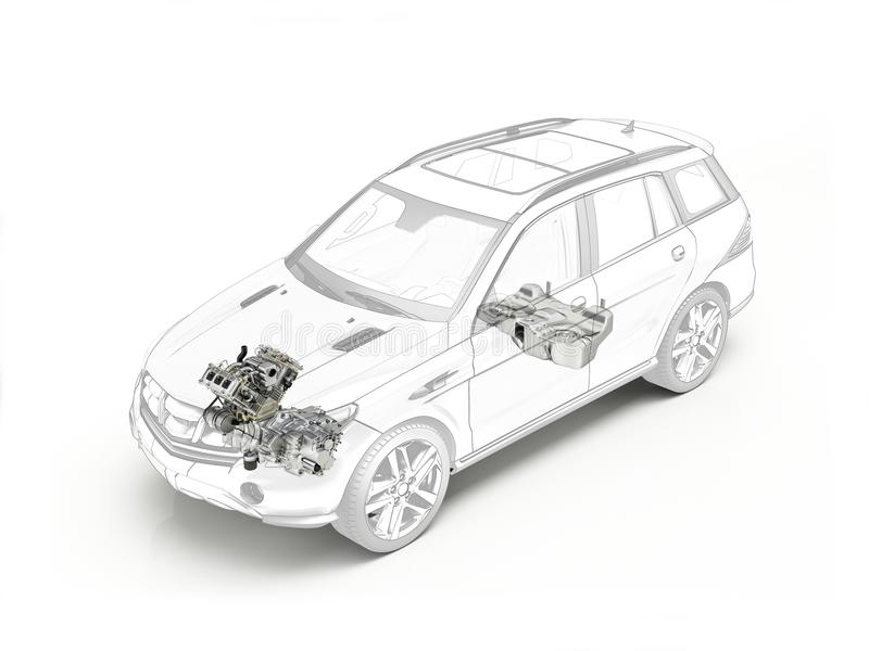 Suv cutaway drawing showing engine and fuel tank. stock illustration