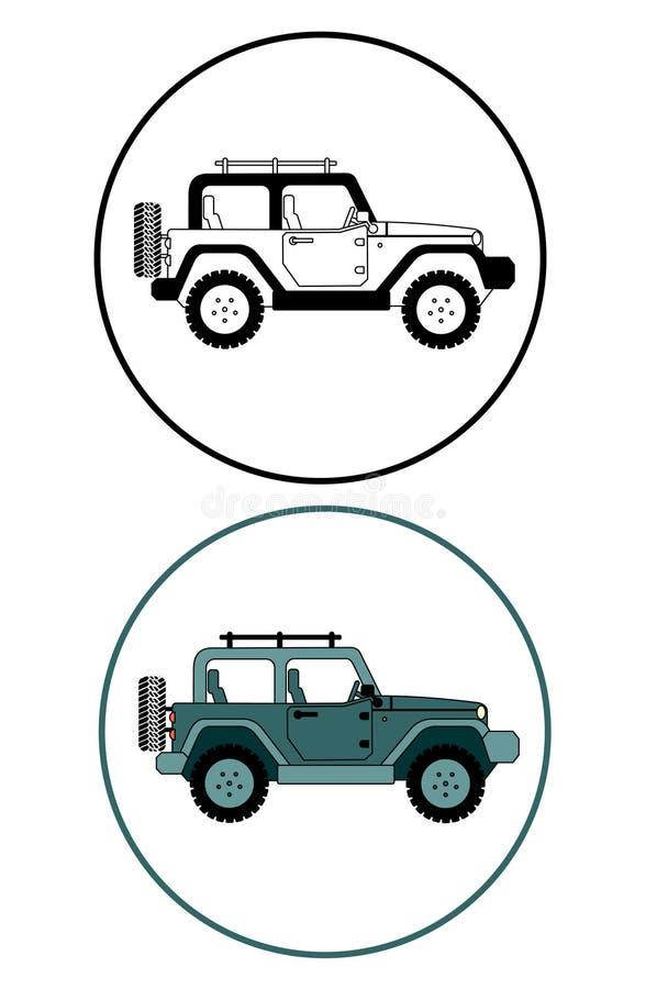 Suv dżip dla safari i krańcowej podróży ustalonej ikony ilustracja wektor