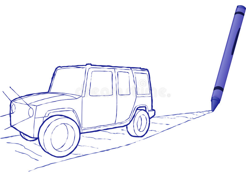 Suv drenado creyón - ilustración del vector stock de ilustración