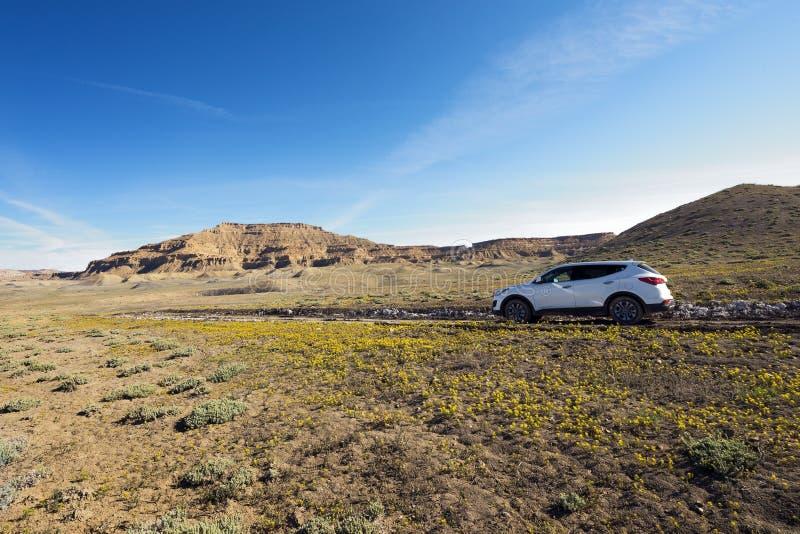 SUV en desierto fotos de archivo libres de regalías