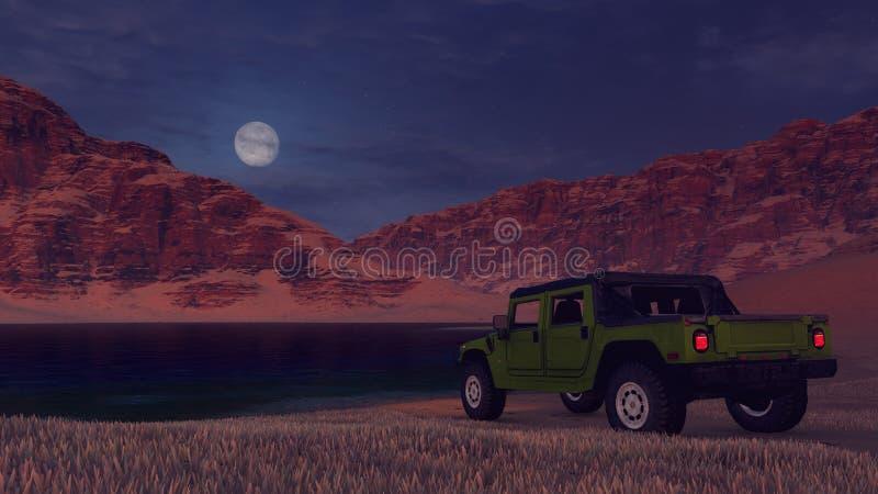 SUV en el banco del lago del desierto debajo de la Luna Llena ilustración del vector