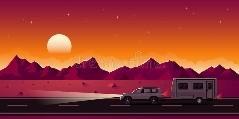 SUV et remorque illustration de vecteur