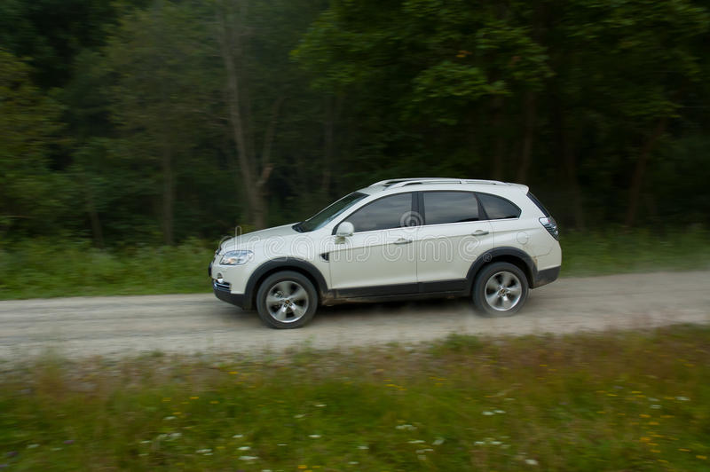 SUV on forestry road 2 stock photography