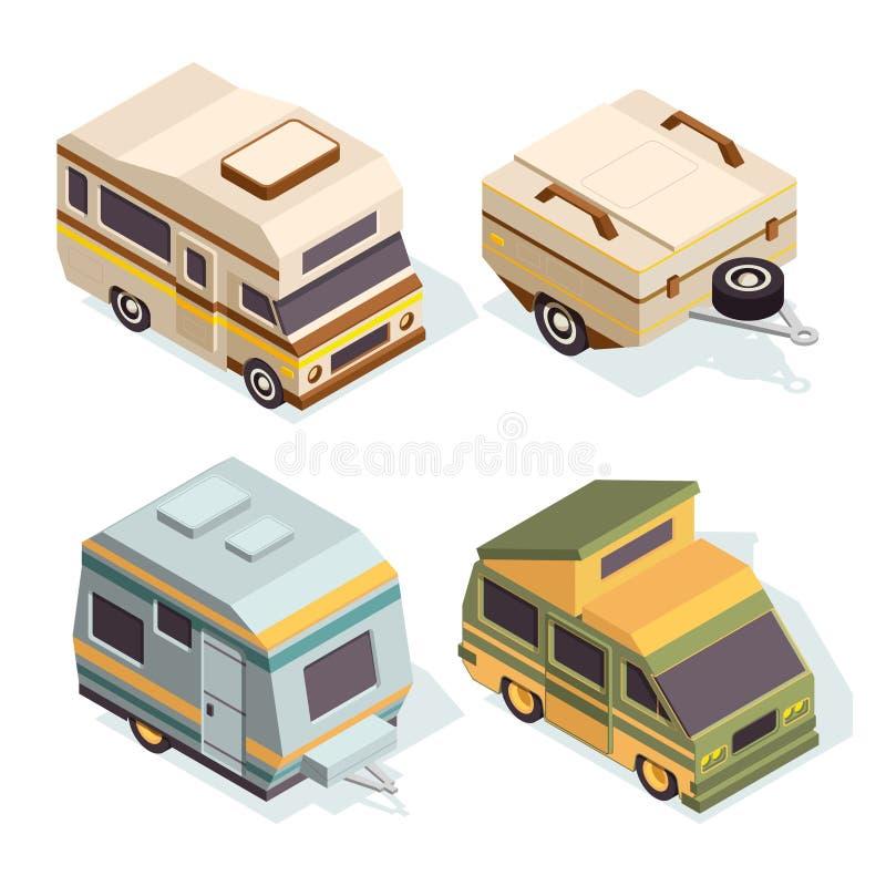 SUV i campingowi samochody Isometric obrazki ustawiający podróż samochody royalty ilustracja