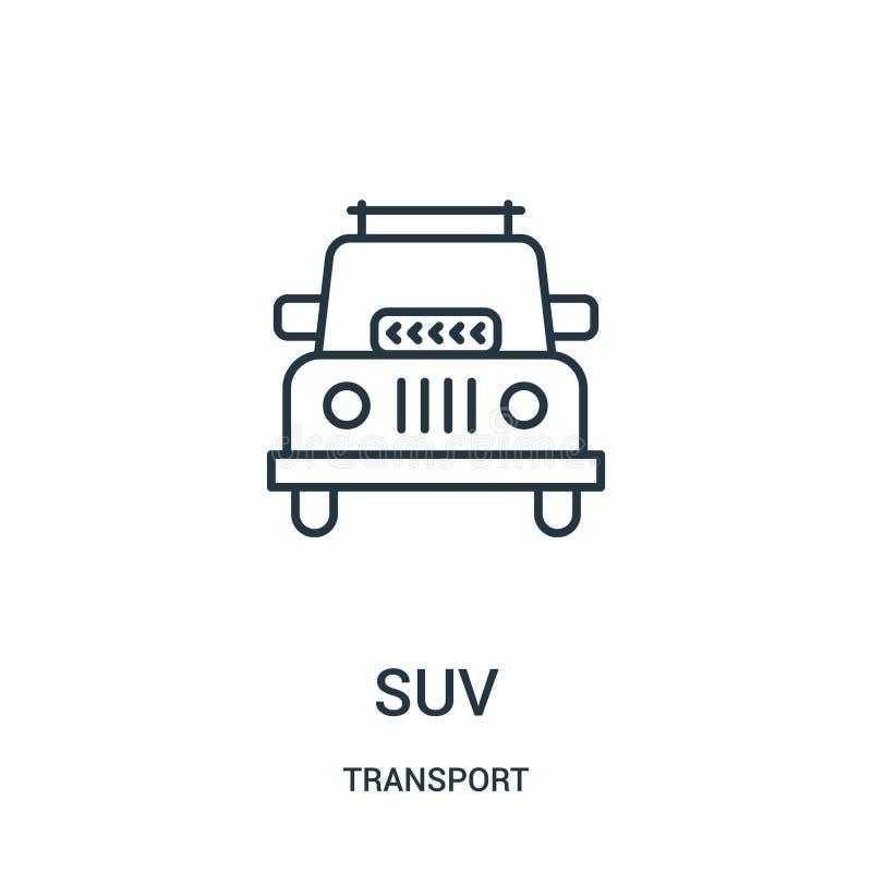 suv Ikonenvektor von der Transportsammlung Dünne Linie suv Entwurfsikonen-Vektorillustration stock abbildung