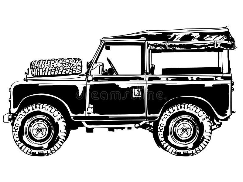 Suv jeepvektor, Eps, logo, symbol, konturillustration vid crafteroks för olikt bruk Bes?ka min website p? https://crafteroks stock illustrationer