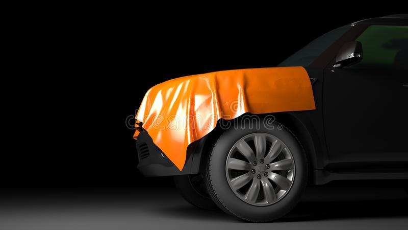 SUV mit eingewickelter Haube lizenzfreies stockfoto