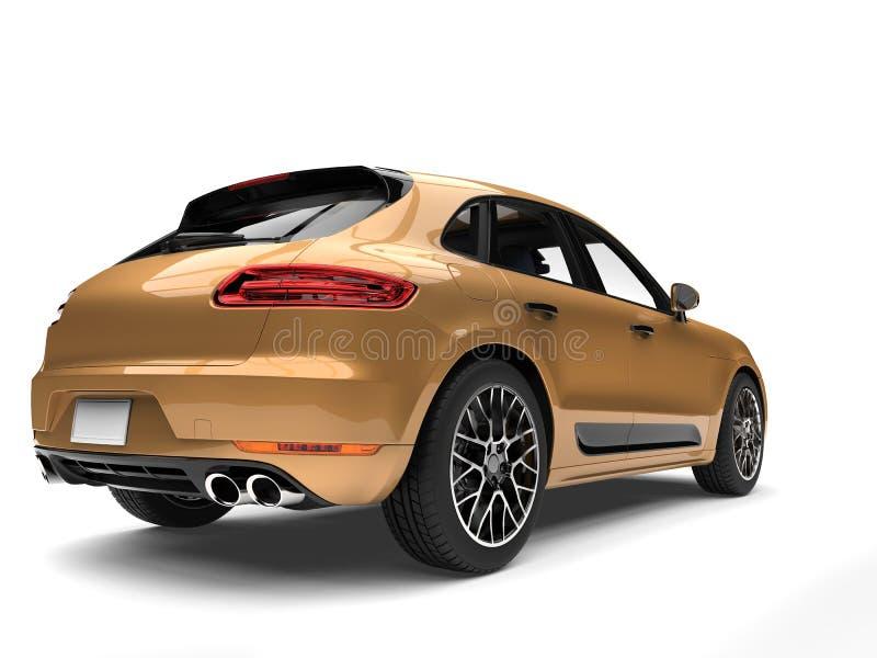 SUV moderno dourado metálico - opinião da cauda ilustração stock