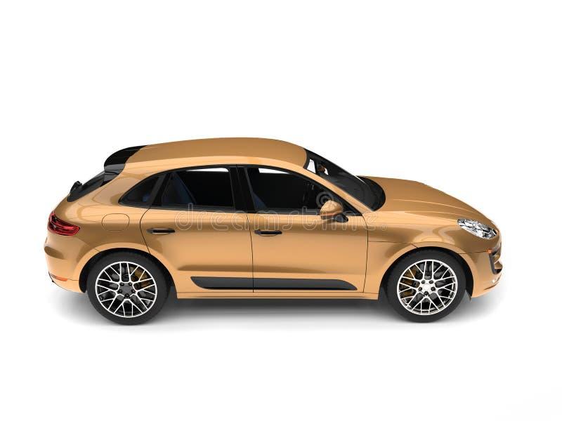 SUV moderno dourado metálico - vista lateral ilustração do vetor