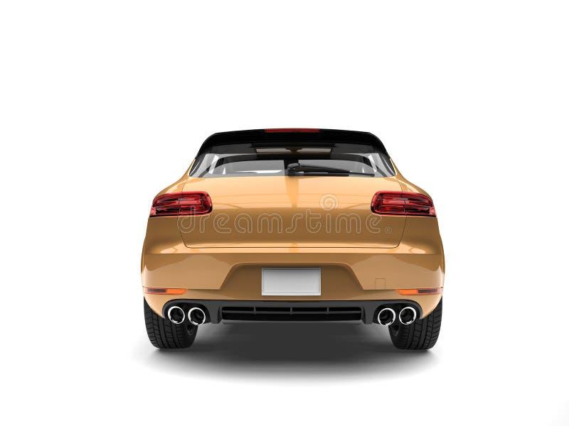 SUV moderno dourado metálico - vista traseira ilustração royalty free