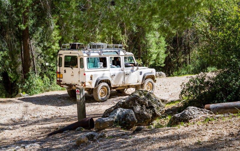 SUV monta en la carretera nacional en el bosque, Israel imágenes de archivo libres de regalías
