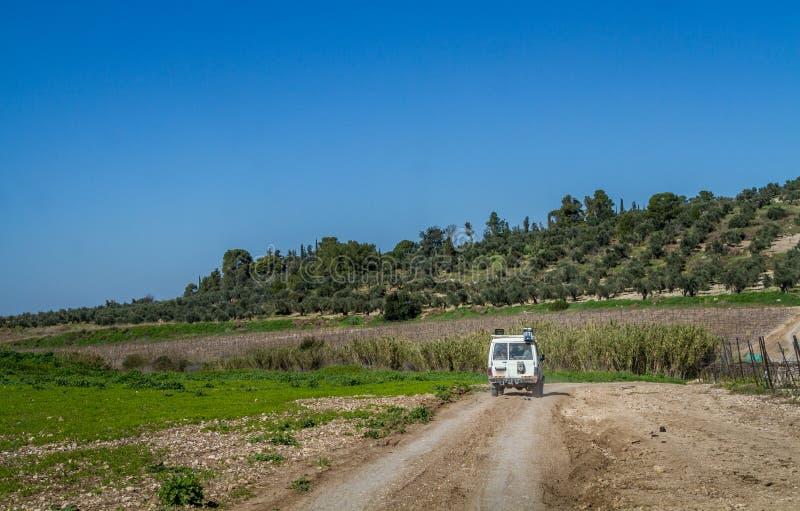 SUV monta en la carretera nacional entre prados, Israel fotos de archivo