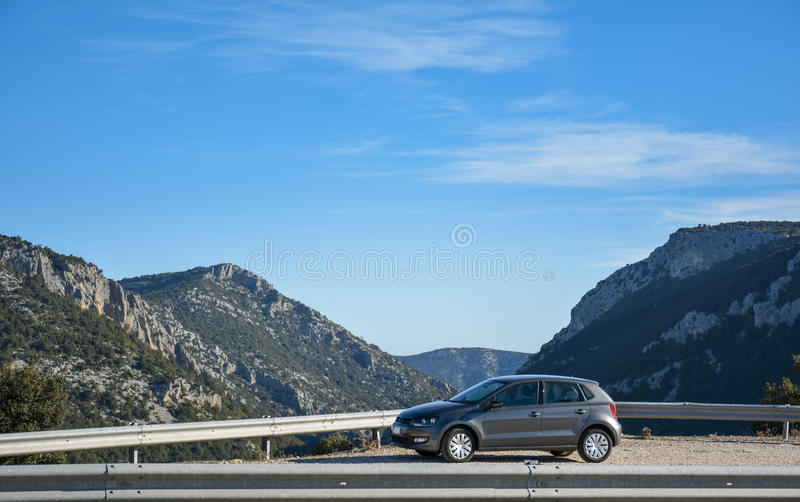 Suv and mountain road stock photo