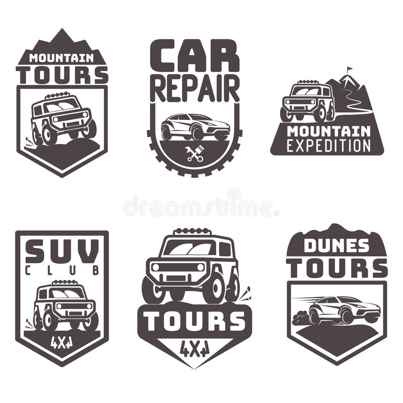 Suv 4x4 off-road travel tour club Icon logo template vector stock illustration