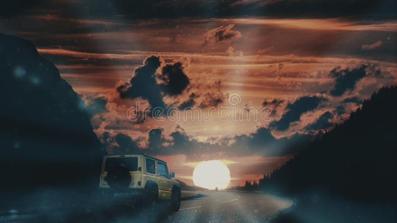 Suv off-road vehicle against a sunset flare in the mountain scenic background. Empty copy space. royalty free stock photos