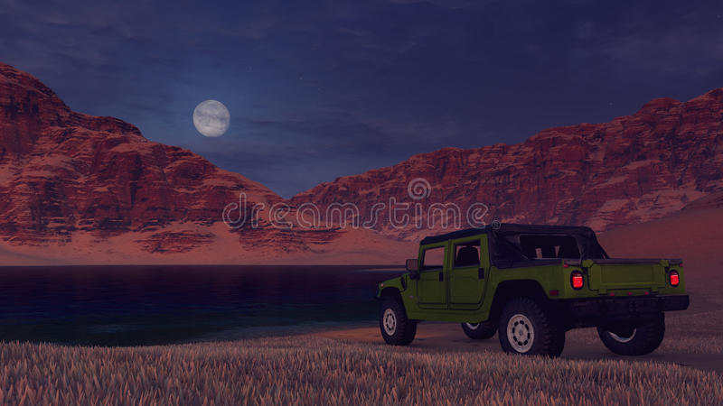 SUV op de bank van het woestijnmeer onder volle maan vector illustratie