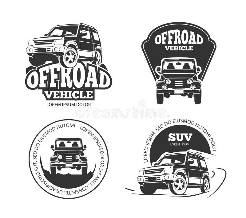 Suv pickup retro wektorowi emblematy, logowie, odznaki i etykietki, ilustracja wektor
