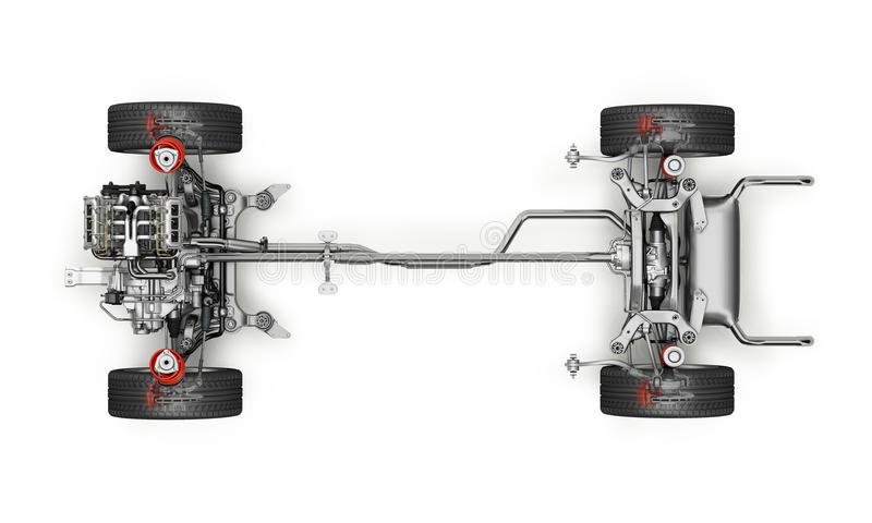 SUV samochód Pod kareciany techniczny 3 d odpłacać się Odgórny widok ilustracji