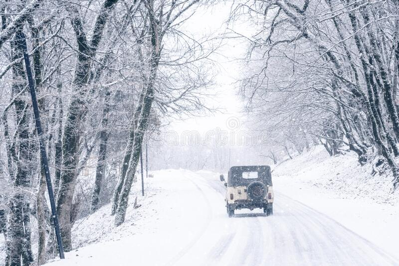 SUV on a snowy road in the forest. Scene stock image
