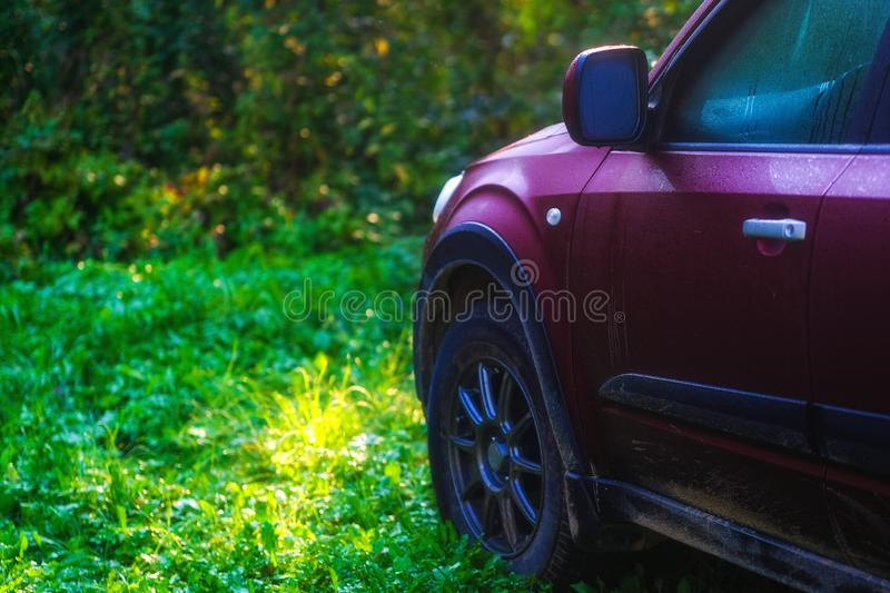 SUV somewhere in suburbs, village royalty free stock photo
